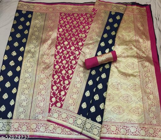 (K16Navy Blue) Fabulous TrenDy Banarsi Partly Silk Saree for Specially Weddings