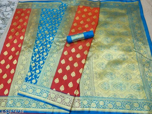 (K16Blue) Fabulous TrenDy Banarsi Partly Silk Saree for Specially Weddings