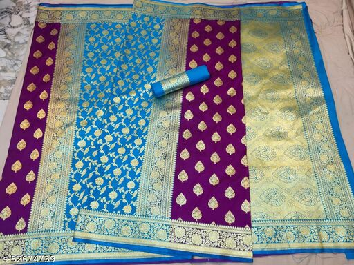 (K16Yellow) Fabulous TrenDy Banarsi Partly Silk Saree for Specially Weddings