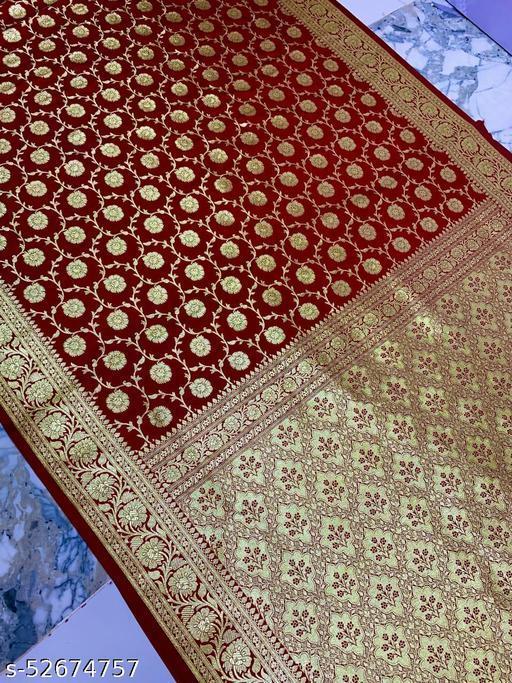 (K17Maroon) Banarsi Kataan Silk Saree Specially For Weddings