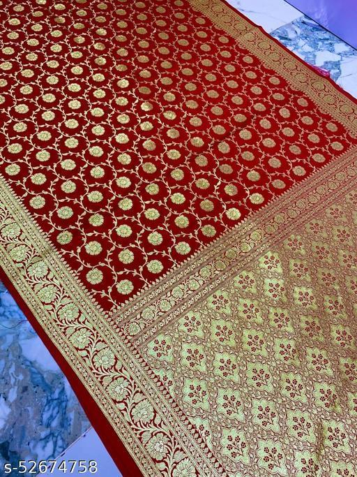 (K17Red) Banarsi Kataan Silk Saree Specially For Weddings