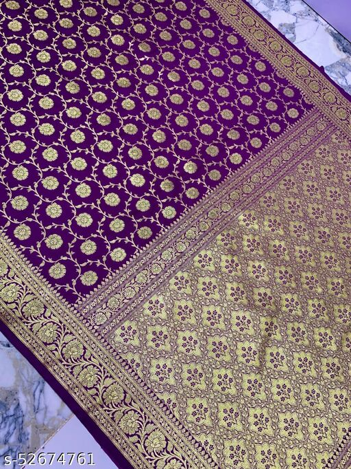 (K17Purple) Banarsi Kataan Silk Saree Specially For Weddings