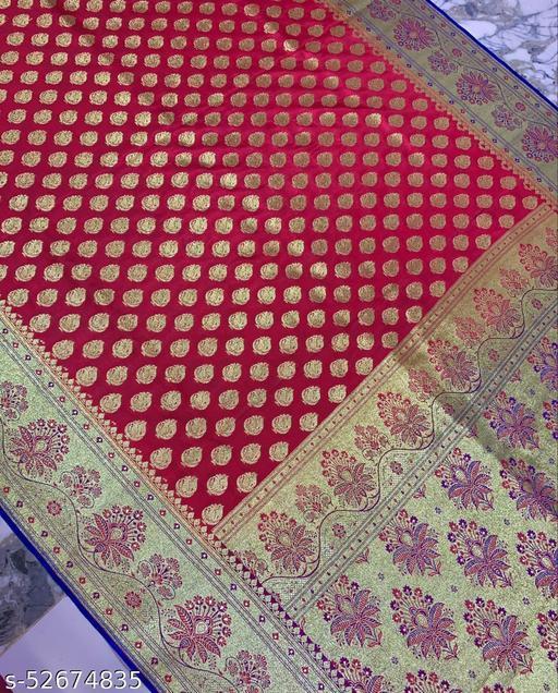 (K20Peach) Fabulous Banarsi Silk Saree for Specially Weddings