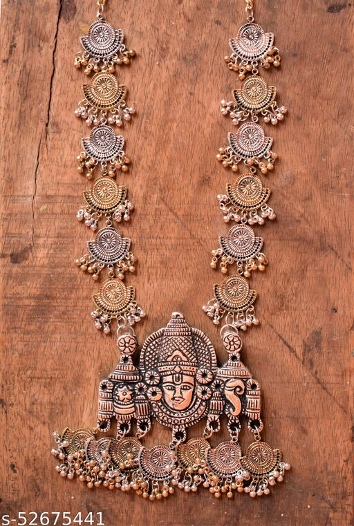 Dual Tone Vishnu Temple Necklace