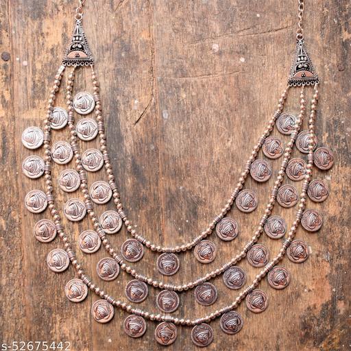 Silver Oxidised Layered Durga Necklace