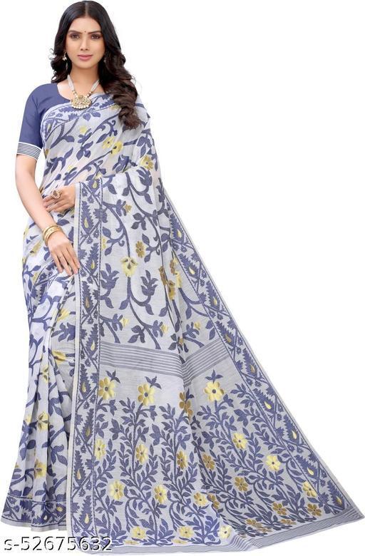 Aishwarya Sarees Women's Soft Dhakai Jamdani Cotton Silk Saree In White And Blue Colour With Blouse Piece