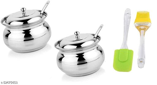 Ghee Pot (2) with Spatula Set (1)  Pack of 3
