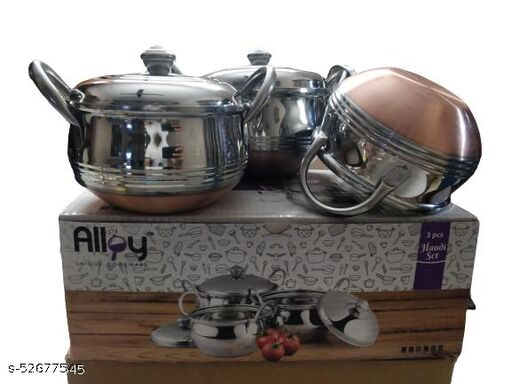 Festive Special Box Packing 3pcs Stainless Steel Handi Set With Lids