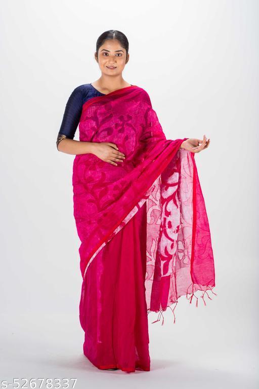 Jhumoor Purple Coloured Handloom Saree