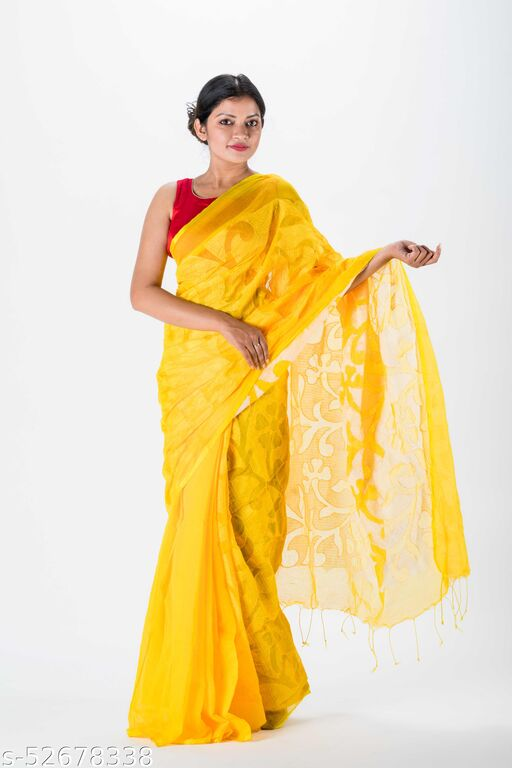 Jhumoor Yellow Coloured Handloom Saree