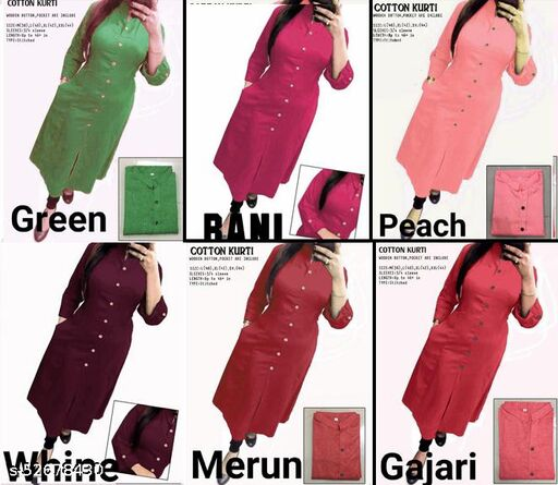 CLASSIC COTTON KURTI WITH POCKET COMBO PACK