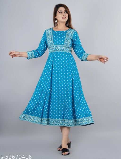 Blue Rayon Anarkali Dress For Women/Ladies/Girls