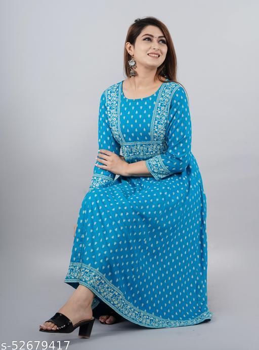 Blue Rayon Anarkali Kurti For Women/Ladies/Girls