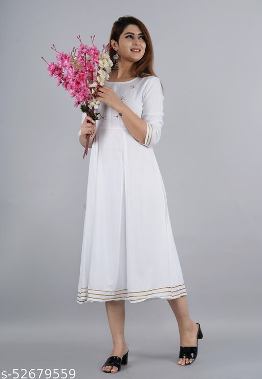 Embrodried Long Gown Dress Kurti for Casual and Work wear for Women and Girls