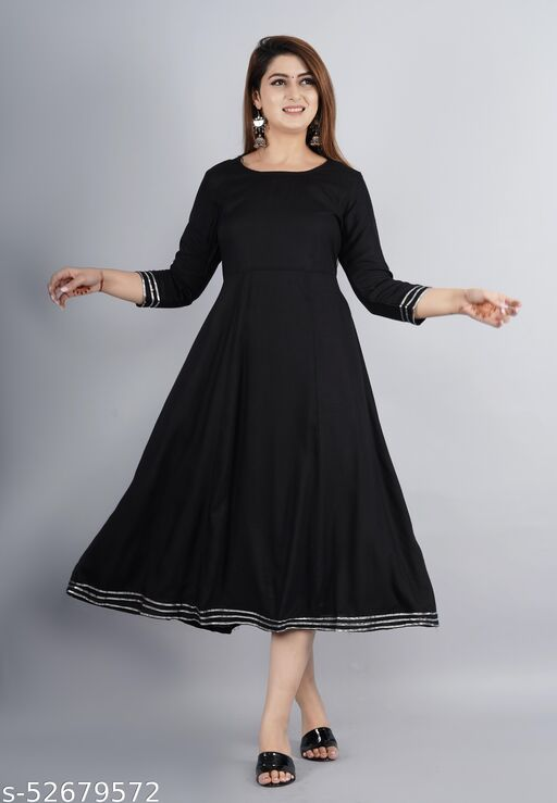Black Long Gown Dress Kurti for Casual and Work wear for Women and Girls