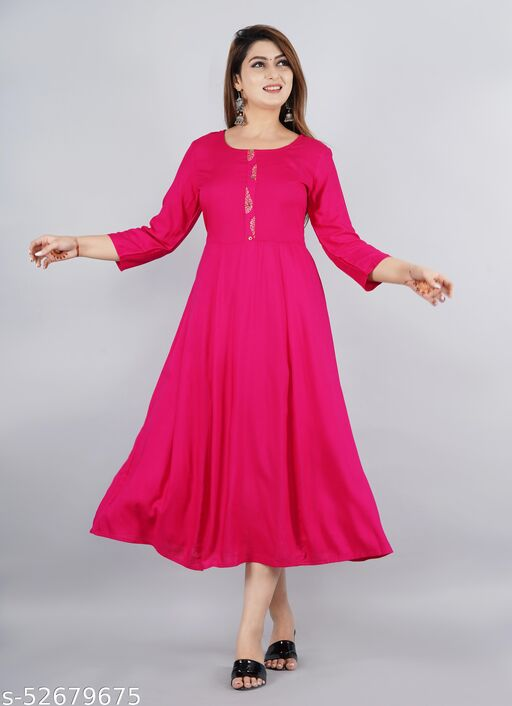 Long Gown Dress Kurti for Casual and Work wear for Women and Girls