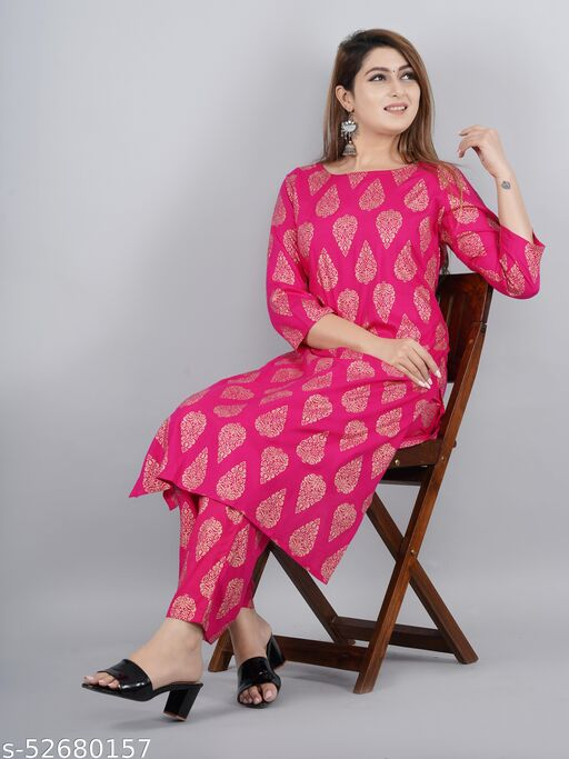 Pink Golden Women's Rayon Flower Print Kurta with Pant