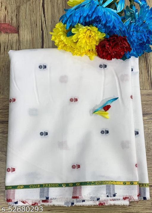 Club Premio Egyptian Cotton Jacquard Unstitched Shirting Fabric(White) MEShirt-0018