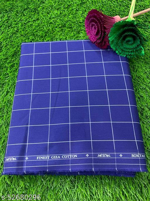 Soktas Men's Giza Cotton Checkered Shirting Fabric (Blue) MEShirt-0062
