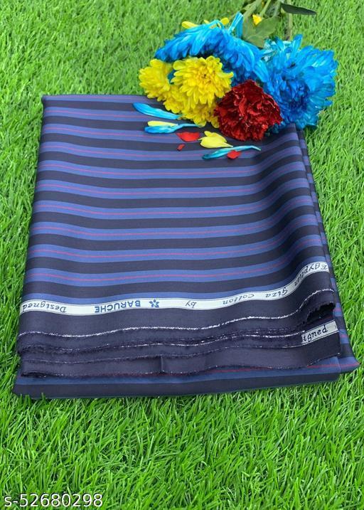 Baruche Egyptian Giza Cotton Striped Unstitched Shirt Fabric(Blue) MEShirt-0036