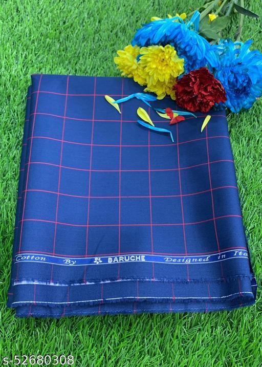 Baruche Egyptian Giza Cotton Checkered Unstitched Shirt Fabric(Blue) MEShirt-0037