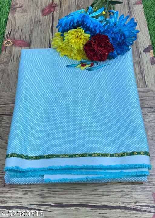 Club Premio Egyptian Cotton Jacquard Unstitched Shirting Fabric(Blue) MEShirt-0030