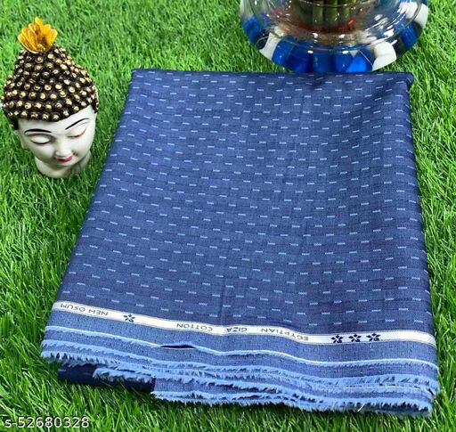 Soktas Men's Giza Cotton Self Design Unstitched Shirting Fabric (Blue) MSoktasShirt-029