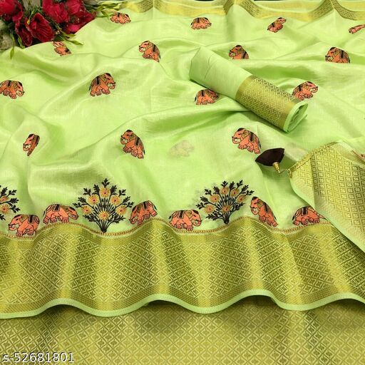 Soft Cotton silk saree with gold jari weaving border and embroidery work