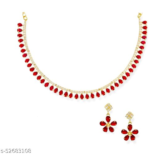 CraftHome Red AD Stone Gold Plated Jewellery Set