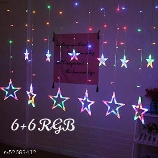 12 Star Multi Color Star Light Curtain for Decoration (Multi Color) (1 PC) / Decorative Lights for Home/Lights for Decoration/Decoration Items Valentine Gift (Star Curtain RGB) Indoor String Lights