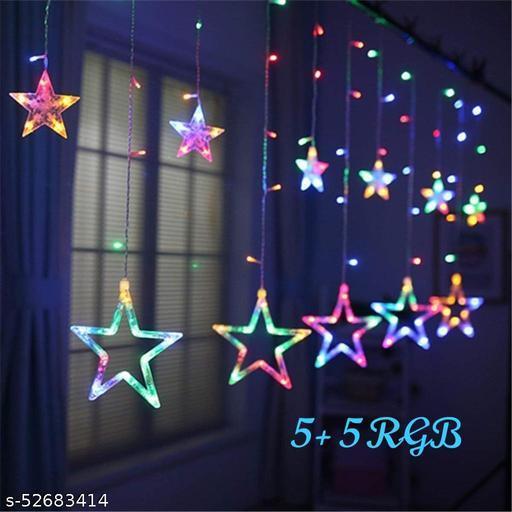 10 Star Multi Color Star Light Curtain for Decoration (Multi Color) (1 PC) / Decorative Lights for Home/Lights for Decoration/Decoration Items Valentine Gift (Star Curtain RGB)