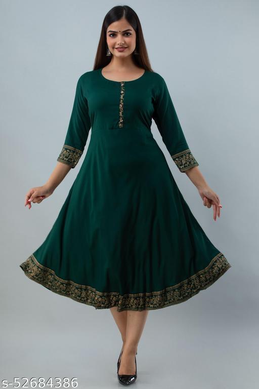 Saniya Fashion Green Colour Solid Anarkali  Women's kurti