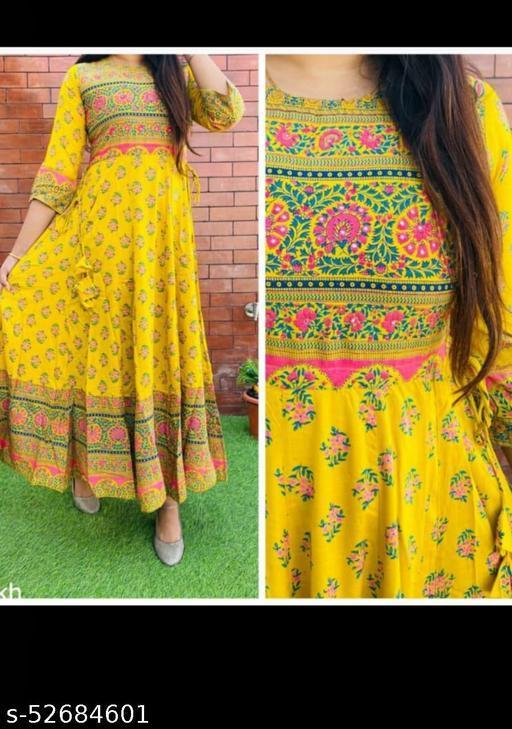 Women Printed Royan Kurta/Anarkali kurti-Yellow