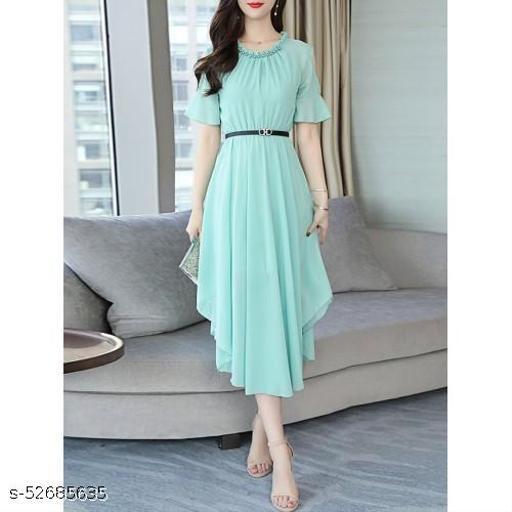 Women's Aline Dress Chiffon Hollow Shoulder High Waist Midi Dress Mint Green