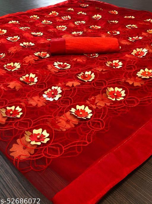 full red  Saree