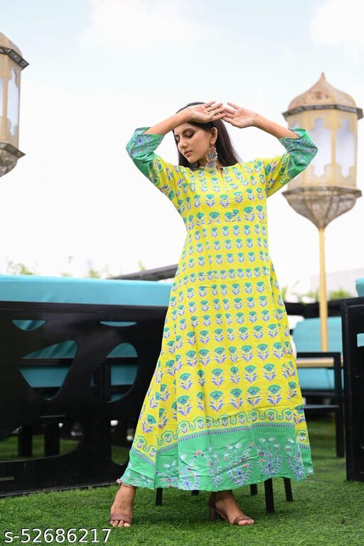 NEW DESIGN PRINTED MUSTARD GOWN