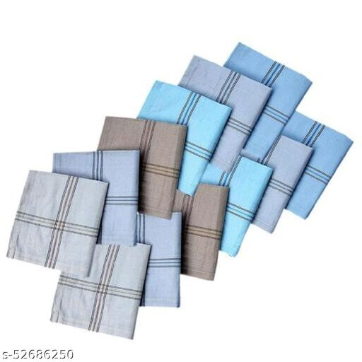 CLOTH KING PRESENTS 100% PREMIUM COLLECTION COTTON FABRIC MENS KING SIZE STRIP PRINT HANDKERCHIEF HANKY RUMAL FOR EASY COMFORT (PACK OF 6).
