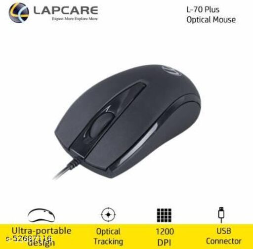 LAPCARE L 70 Plus 1200 DPI USB Optical Mouse with Ambidextrous Design Wired Optical Mouse  (USB 2.0, Black)