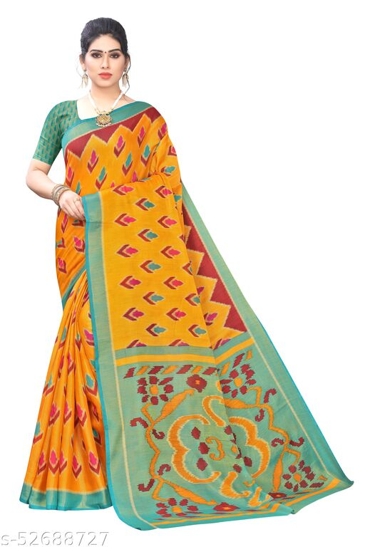 Women's Polyster Brasso Saree With Blouse Piece