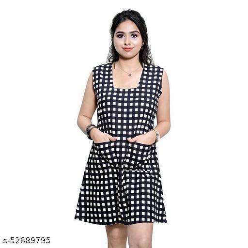 AENNAVARUN Women's Black- White Linen Printed Short Dress with Front Pockets