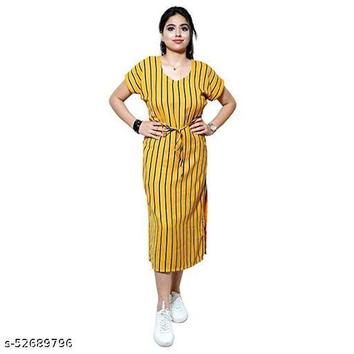 AENNAVARUN Women's Mustard Striped Casual Dress with Side Slit