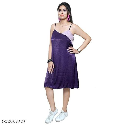 AENNAVARUN Women's Two Toned Purple A-Line Sleeveless Short Dress