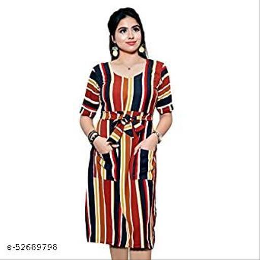 AENNAVARUN Women's Multi Striped Calf Length Tunic Dress with Front Pockets and Waist Belt