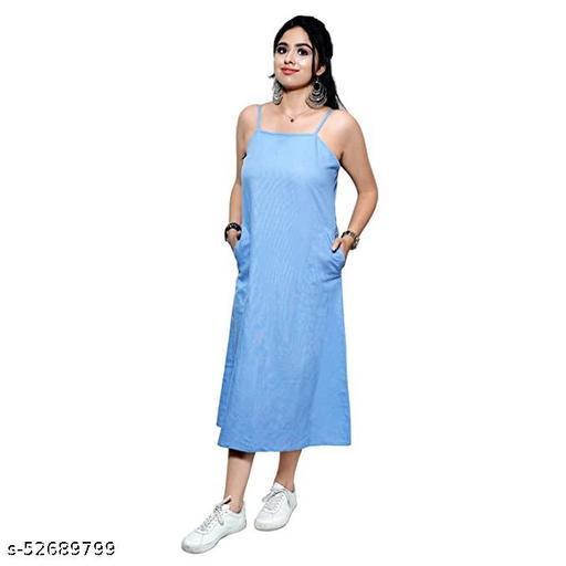 AENNAVARUN Women's Breezy Blue A-Line Dress with Side Pockets