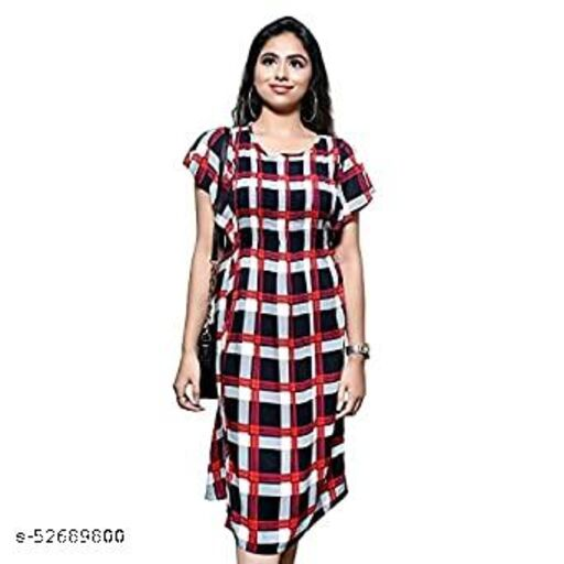 AENNAVARUN Women's Checkered Printed Casual Office wear Dress with Designed Sleeves