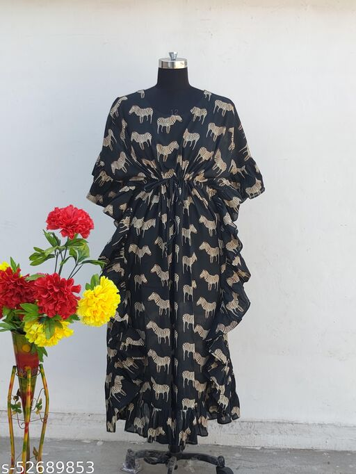 DESIGNER COMFORT WEAR KAFTAN HIGH QUALITY PRINTED PURE COTTON FROM RAJASTHAN FOR GIRLS AND WOMEN