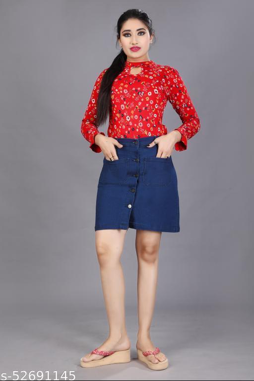 Women Solid Straight Blue Skirt