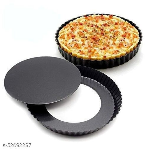 Bagonia 9.5-Inch Round Tart Pan with Removable Loose Bottom, Non-Stick Carbon Steel Quiche Pan for Oven Baking, Pizza Pan (Black)