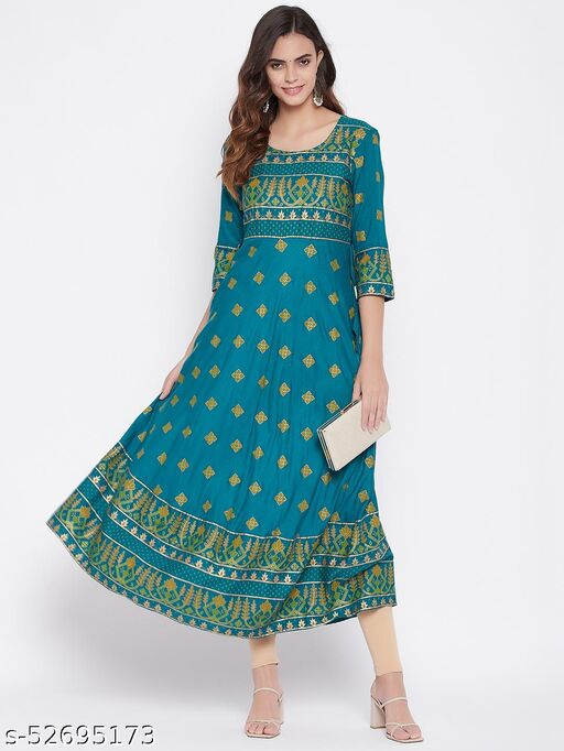 Beautiful Green Printed Colourful Kurta With Front Design