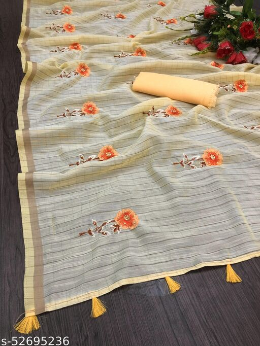 RDS Cotton Saree with Embroidered Flowers Design work (Yellow)